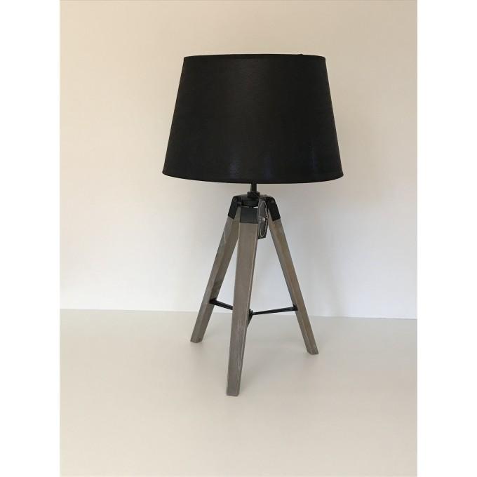 Lampa stojící - trojnožka, černé stínítko -50%