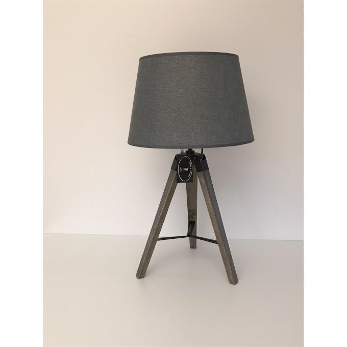 Lampa stojící - trojnožka, šedé stínítko -50%